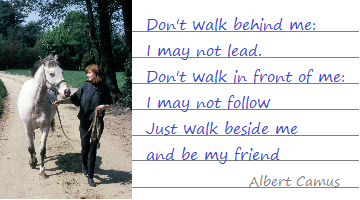 Don't walk behind me: I may not lead Don't walk in front of me: I may not follow Just walk beside me and be my friend